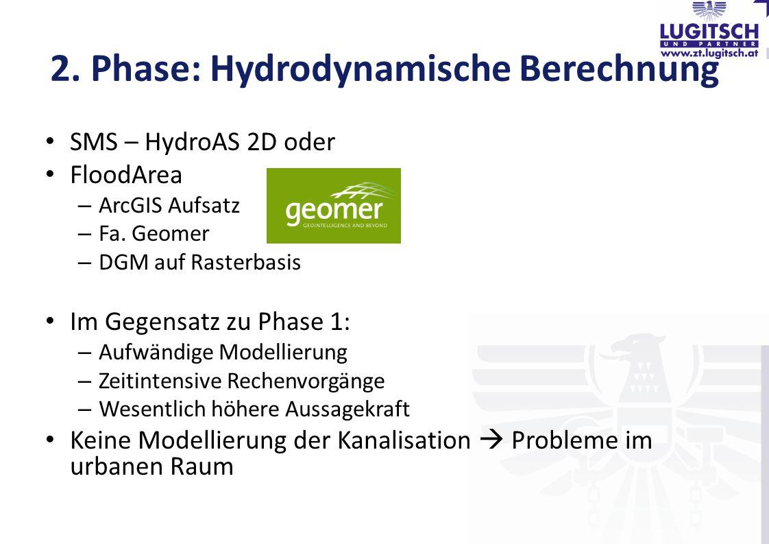 2. Phase: Hydrodynamische Berechnung SMS – HydroAS 2D oder FloodArea – ArcGIS Aufsatz – Fa. Geomer – DGM auf Rasterbasis Im Gegensatz zu Phase 1: – Au