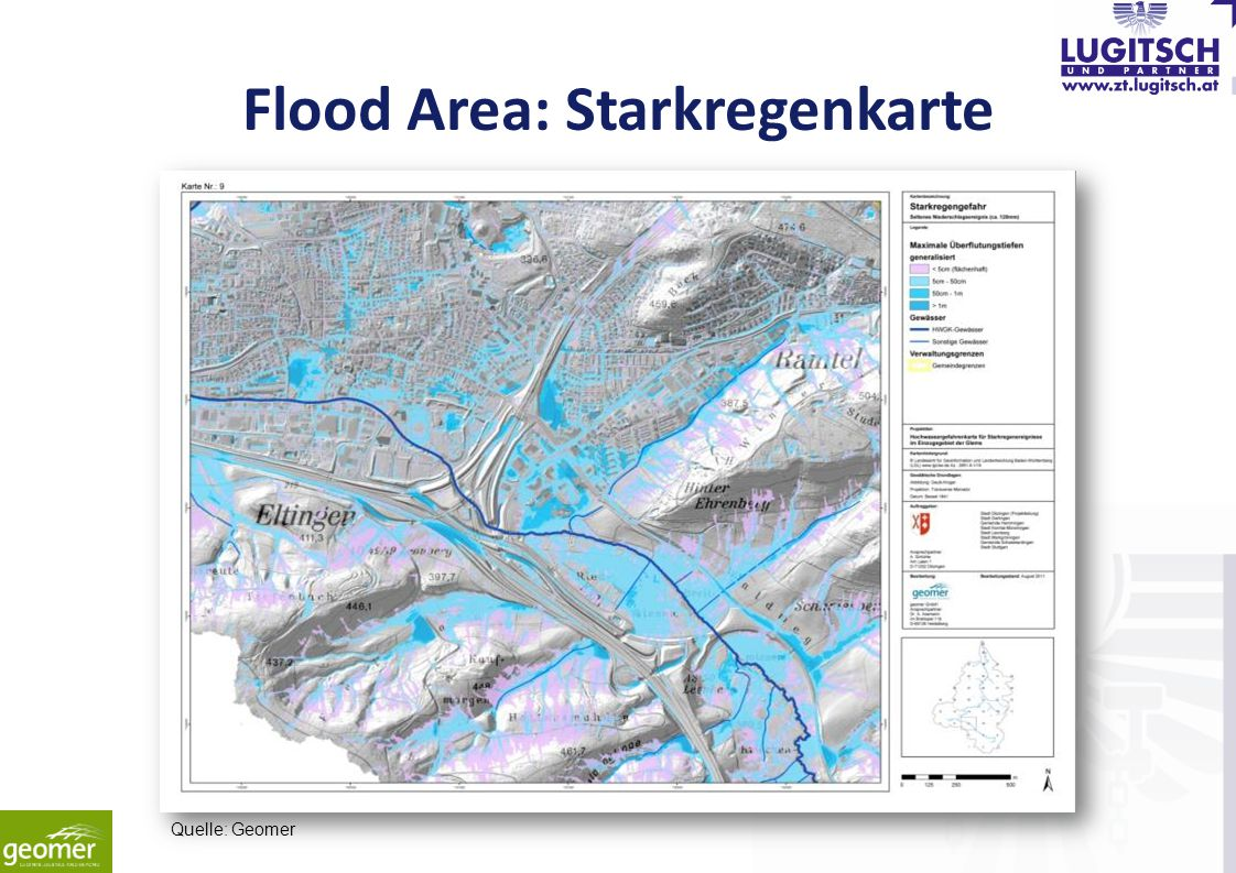 Flood Area: Starkregenkarte Quelle: Geomer