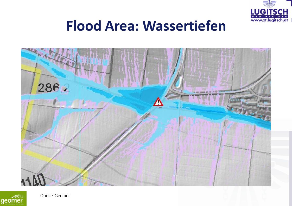 Flood Area: Wassertiefen Quelle: Geomer