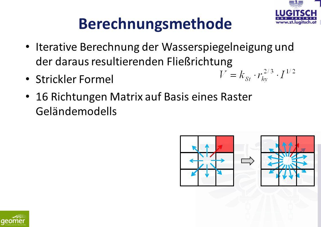Berechnungsmethode Iterative Berechnung der Wasserspiegelneigung und der daraus resultierenden Fließrichtung Strickler Formel 16 Richtungen Matrix auf