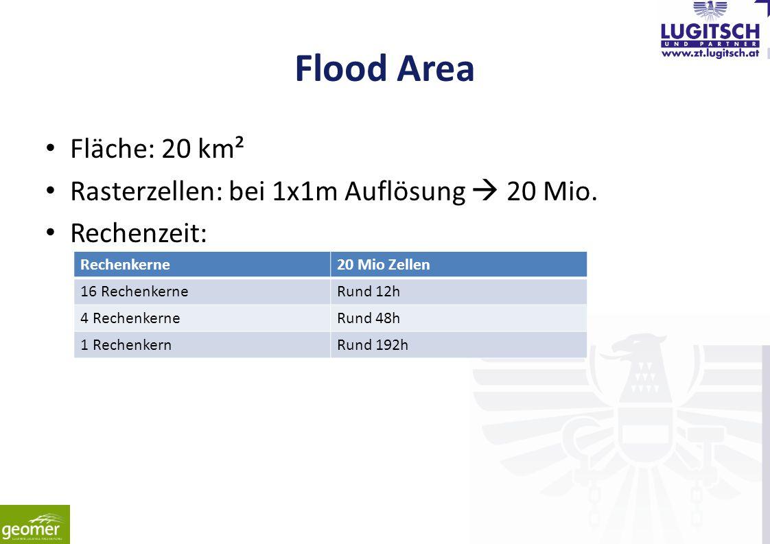 Flood Area Fläche: 20 km² Rasterzellen: bei 1x1m Auflösung  20 Mio. Rechenzeit: Rechenkerne20 Mio Zellen 16 RechenkerneRund 12h 4 RechenkerneRund 48h