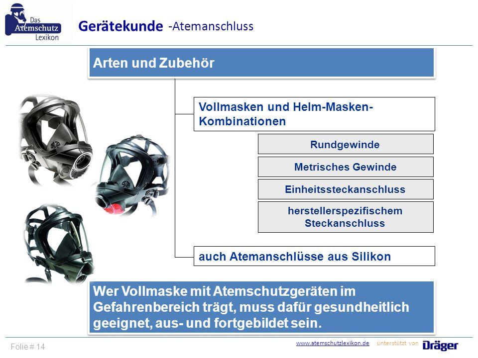 www.atemschutzlexikon.dewww.atemschutzlexikon.de ünterstützt von Folie # 14 Vollmasken und Helm-Masken- Kombinationen Arten und Zubehör Gerätekunde -A