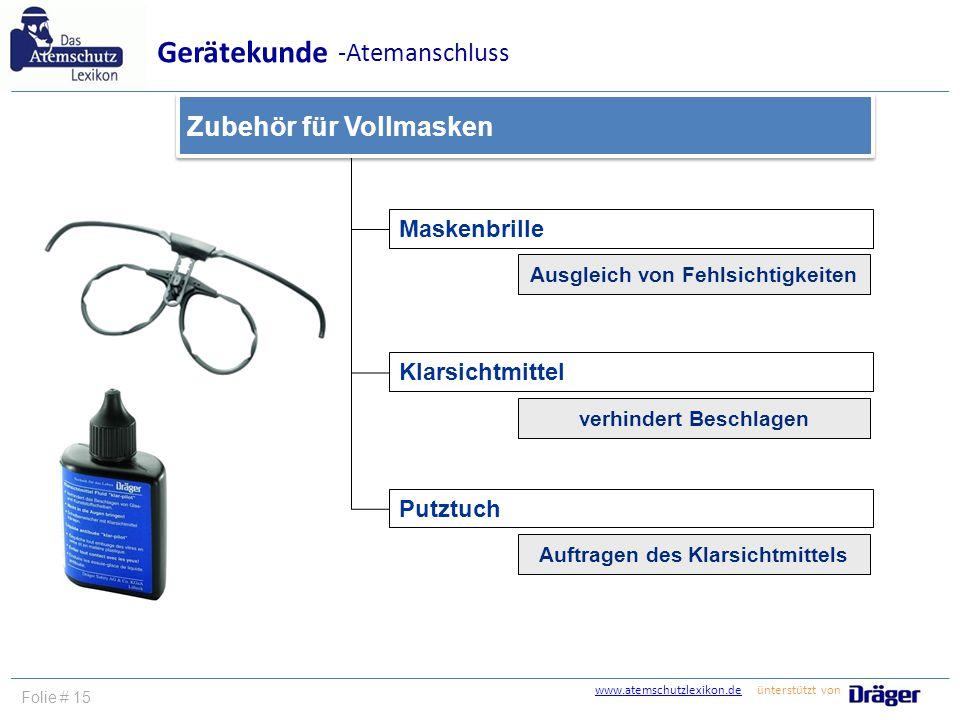 www.atemschutzlexikon.dewww.atemschutzlexikon.de ünterstützt von Folie # 15 Maskenbrille Klarsichtmittel Putztuch Zubehör für Vollmasken Gerätekunde -