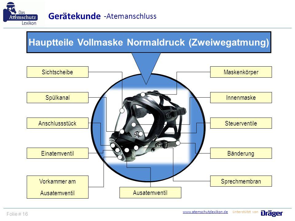www.atemschutzlexikon.dewww.atemschutzlexikon.de ünterstützt von Folie # 16 Gerätekunde -Atemanschluss Hauptteile Vollmaske Normaldruck (Zweiwegatmung