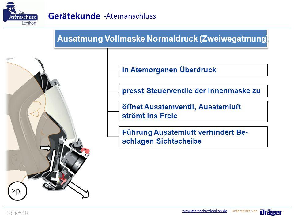 www.atemschutzlexikon.dewww.atemschutzlexikon.de ünterstützt von Folie # 18 in Atemorganen Überdruck presst Steuerventile der Innenmaske zu Führung Au