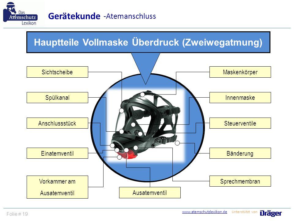 www.atemschutzlexikon.dewww.atemschutzlexikon.de ünterstützt von Folie # 19 Gerätekunde -Atemanschluss Hauptteile Vollmaske Überdruck (Zweiwegatmung)
