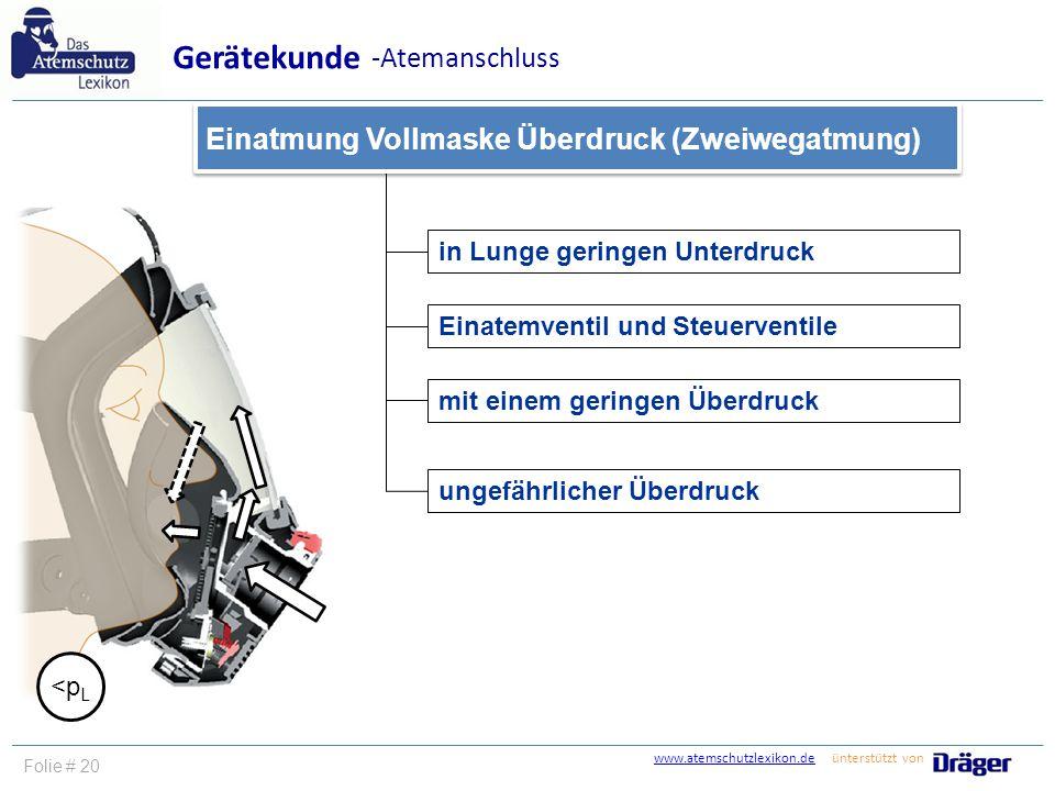 www.atemschutzlexikon.dewww.atemschutzlexikon.de ünterstützt von Folie # 20 in Lunge geringen Unterdruck Einatemventil und Steuerventile ungefährliche