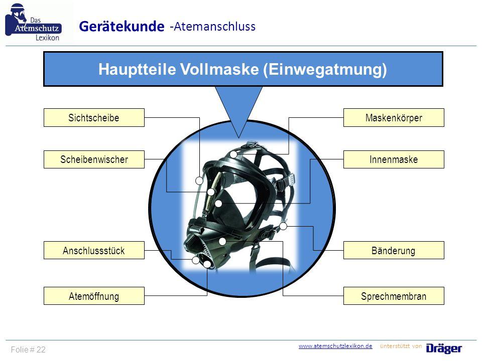 www.atemschutzlexikon.dewww.atemschutzlexikon.de ünterstützt von Folie # 22 Gerätekunde -Atemanschluss Maskenkörper Sprechmembran Innenmaske Bänderung