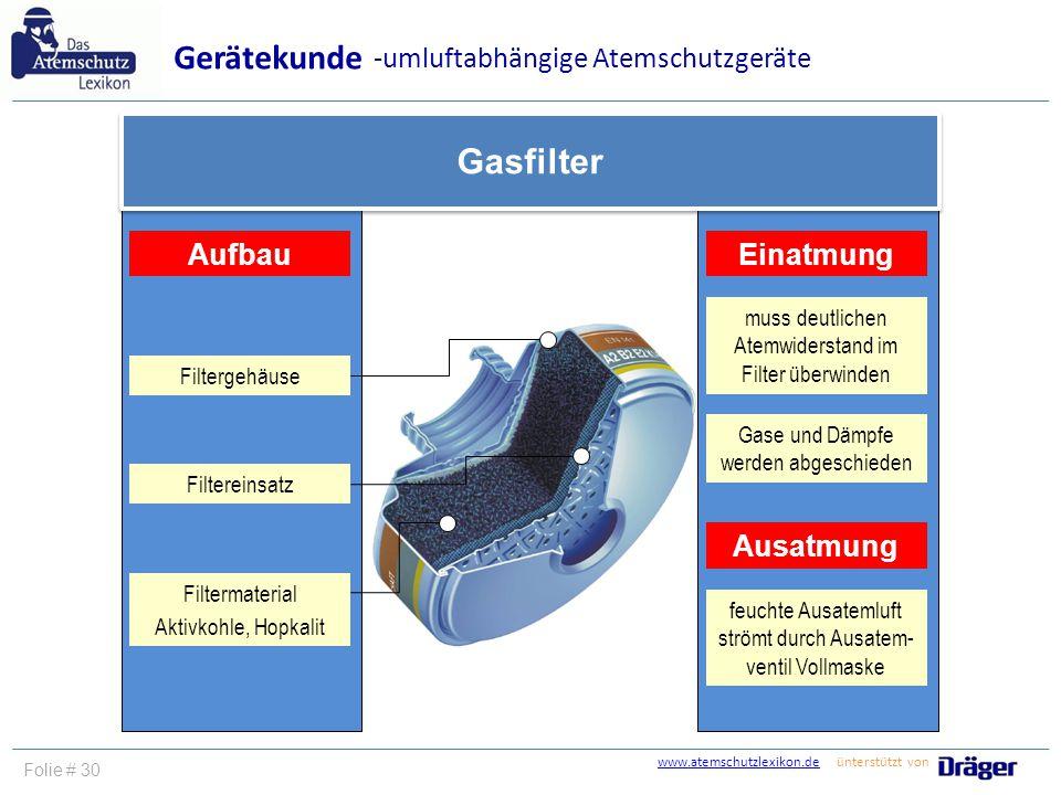 www.atemschutzlexikon.dewww.atemschutzlexikon.de ünterstützt von Folie # 30 Gerätekunde -umluftabhängige Atemschutzgeräte Gasfilter Aufbau Filtergehäu