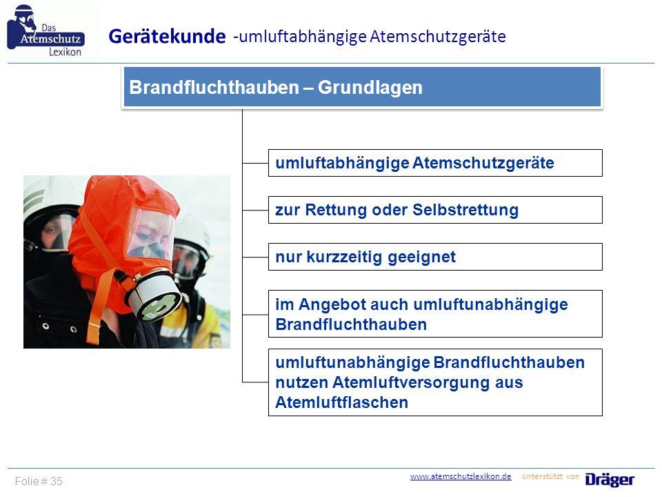 www.atemschutzlexikon.dewww.atemschutzlexikon.de ünterstützt von Folie # 35 umluftabhängige Atemschutzgeräte zur Rettung oder Selbstrettung Gerätekund