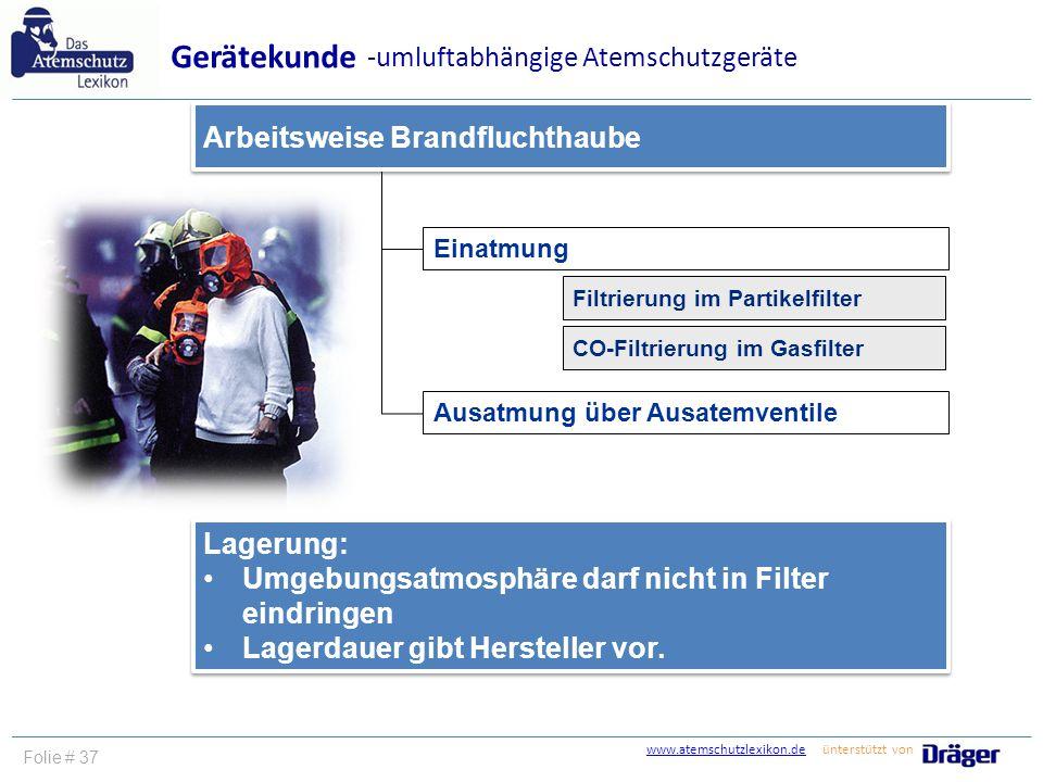 www.atemschutzlexikon.dewww.atemschutzlexikon.de ünterstützt von Folie # 37 Einatmung Arbeitsweise Brandfluchthaube Gerätekunde -umluftabhängige Atems