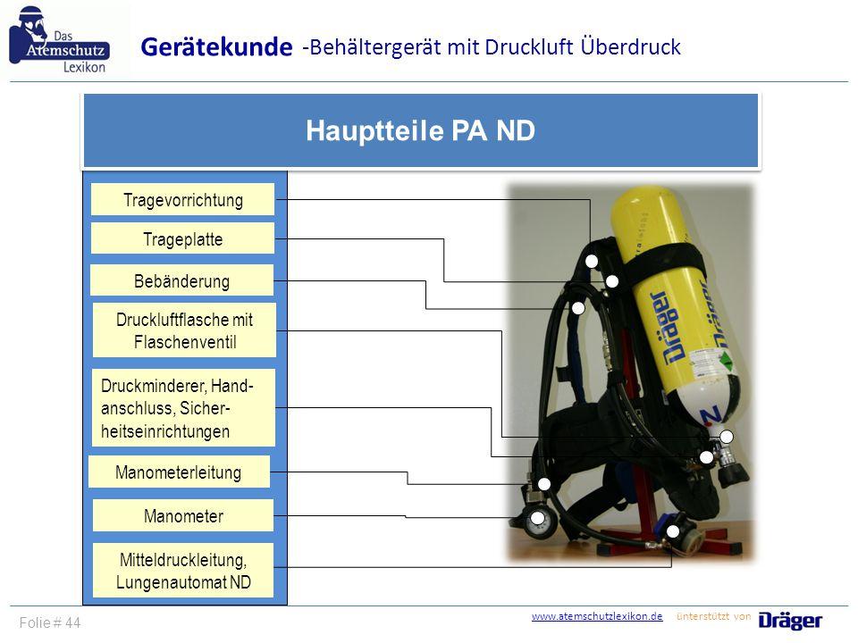 www.atemschutzlexikon.dewww.atemschutzlexikon.de ünterstützt von Folie # 44 Gerätekunde Hauptteile PA ND Tragevorrichtung Bebänderung Trageplatte -Beh