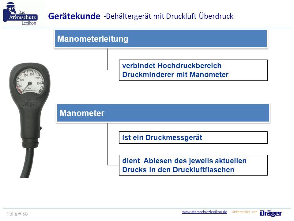 www.atemschutzlexikon.dewww.atemschutzlexikon.de ünterstützt von Folie # 58 verbindet Hochdruckbereich Druckminderer mit Manometer Manometerleitung Ge