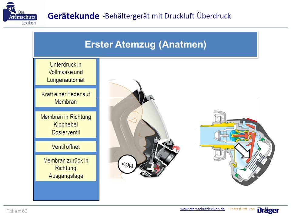 www.atemschutzlexikon.dewww.atemschutzlexikon.de ünterstützt von Folie # 63 Gerätekunde Erster Atemzug (Anatmen) Membran in Richtung Kipphebel Dosierv
