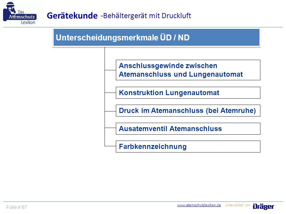 www.atemschutzlexikon.dewww.atemschutzlexikon.de ünterstützt von Folie # 67 Anschlussgewinde zwischen Atemanschluss und Lungenautomat Gerätekunde -Beh