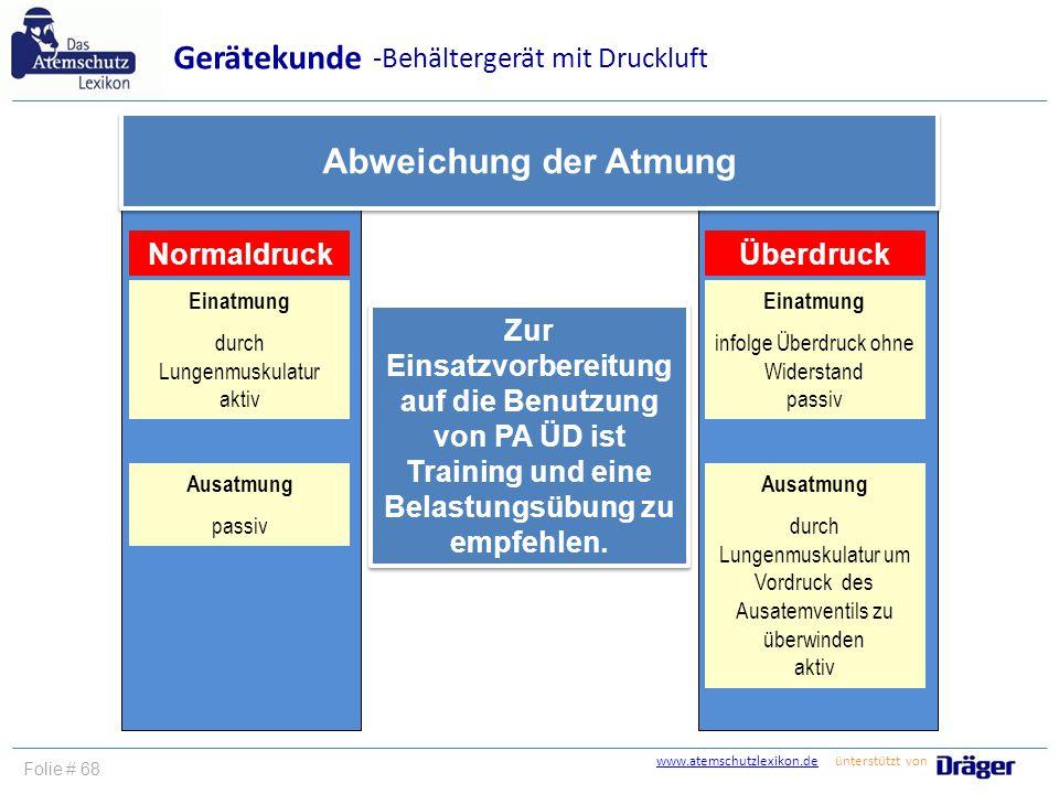 www.atemschutzlexikon.dewww.atemschutzlexikon.de ünterstützt von Folie # 69 Gerätekunde Vielen Dank für Ihre Aufmerksamkeit.
