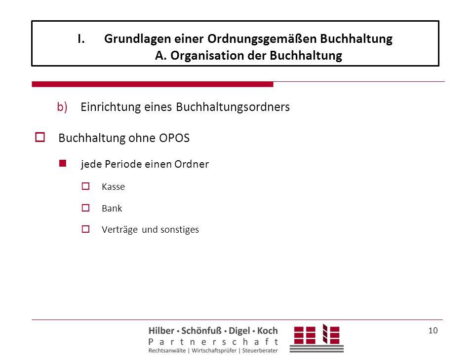 I.Grundlagen einer Ordnungsgemäßen Buchhaltung A. Organisation der Buchhaltung b)Einrichtung eines Buchhaltungsordners  Buchhaltung ohne OPOS jede Pe