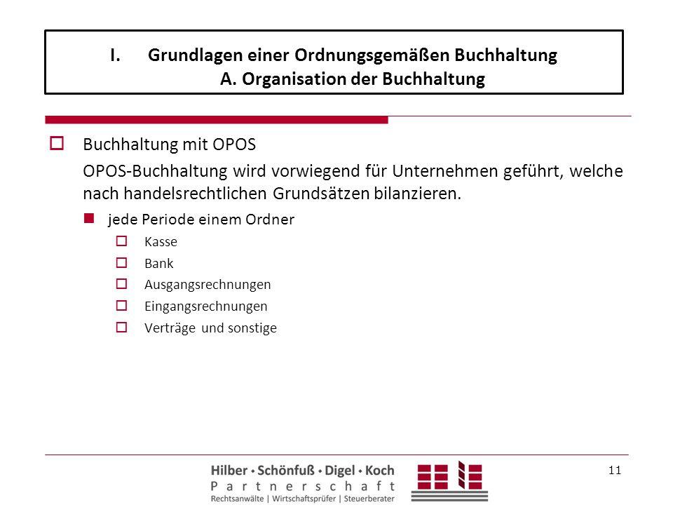  Buchhaltung mit OPOS OPOS-Buchhaltung wird vorwiegend für Unternehmen geführt, welche nach handelsrechtlichen Grundsätzen bilanzieren. jede Periode