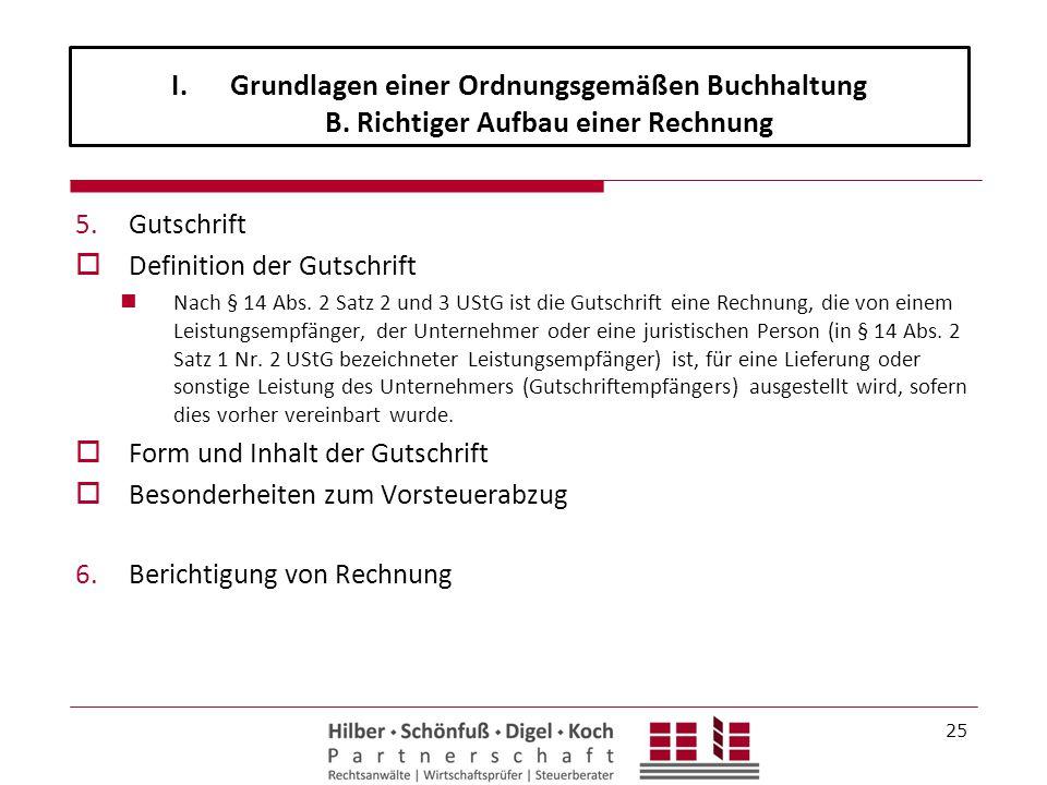 5.Gutschrift  Definition der Gutschrift Nach § 14 Abs.