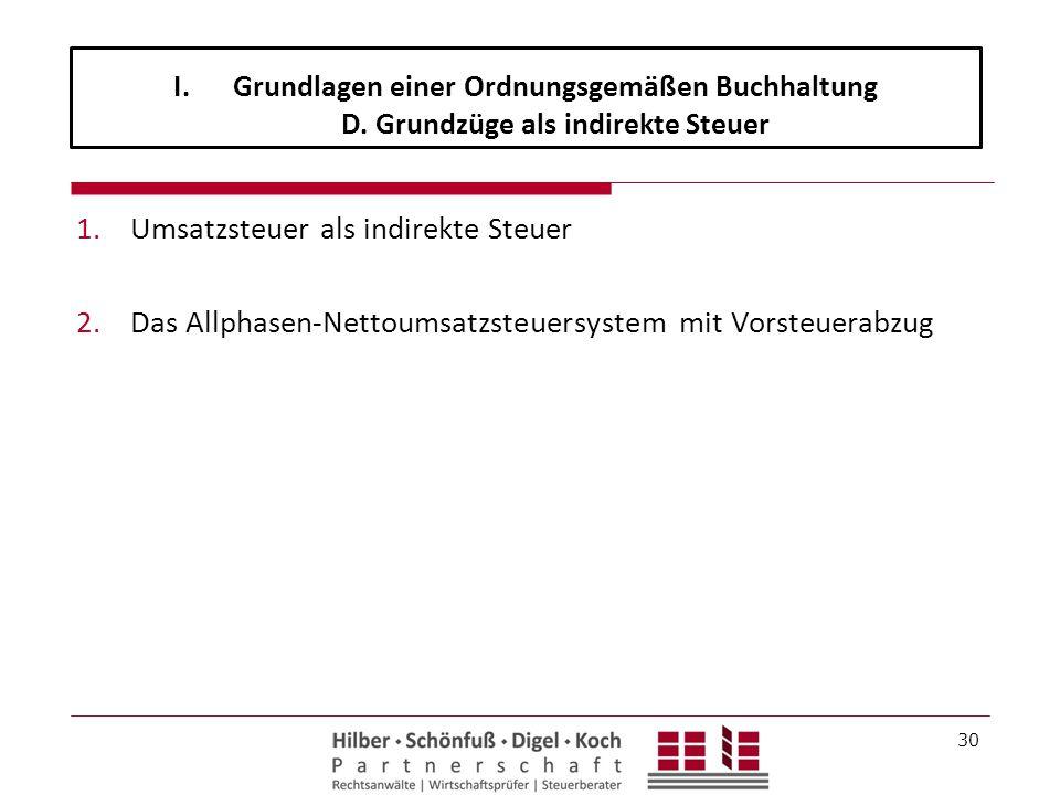 1.Umsatzsteuer als indirekte Steuer 2.Das Allphasen-Nettoumsatzsteuersystem mit Vorsteuerabzug 30 I.Grundlagen einer Ordnungsgemäßen Buchhaltung D. Gr