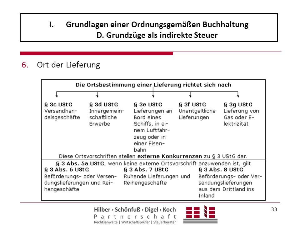 6.Ort der Lieferung 33 I.Grundlagen einer Ordnungsgemäßen Buchhaltung D. Grundzüge als indirekte Steuer