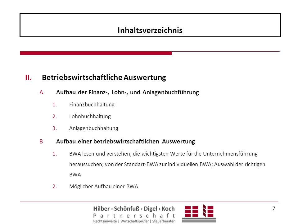 Inhaltsverzeichnis II.Betriebswirtschaftliche Auswertung AAufbau der Finanz-, Lohn-, und Anlagenbuchführung 1.Finanzbuchhaltung 2.Lohnbuchhaltung 3.An