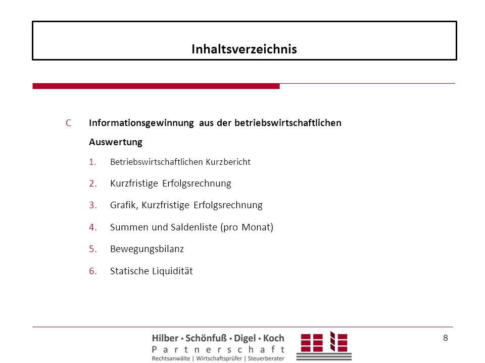Inhaltsverzeichnis CInformationsgewinnung aus der betriebswirtschaftlichen Auswertung 1.Betriebswirtschaftlichen Kurzbericht 2.Kurzfristige Erfolgsrec