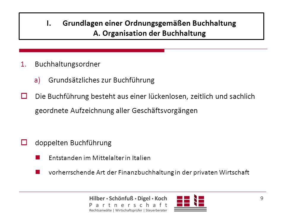 I.Grundlagen einer Ordnungsgemäßen Buchhaltung A. Organisation der Buchhaltung 1.Buchhaltungsordner a)Grundsätzliches zur Buchführung  Die Buchführun