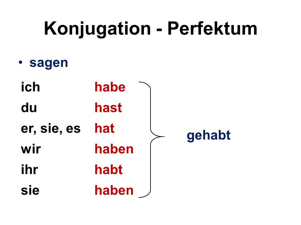 Konjugation - Perfektum sagen (regelmäßig – Wortstamm: sag-) ichhabe gesagt duhast er, sie, eshat wirhaben ihrhabt siehaben