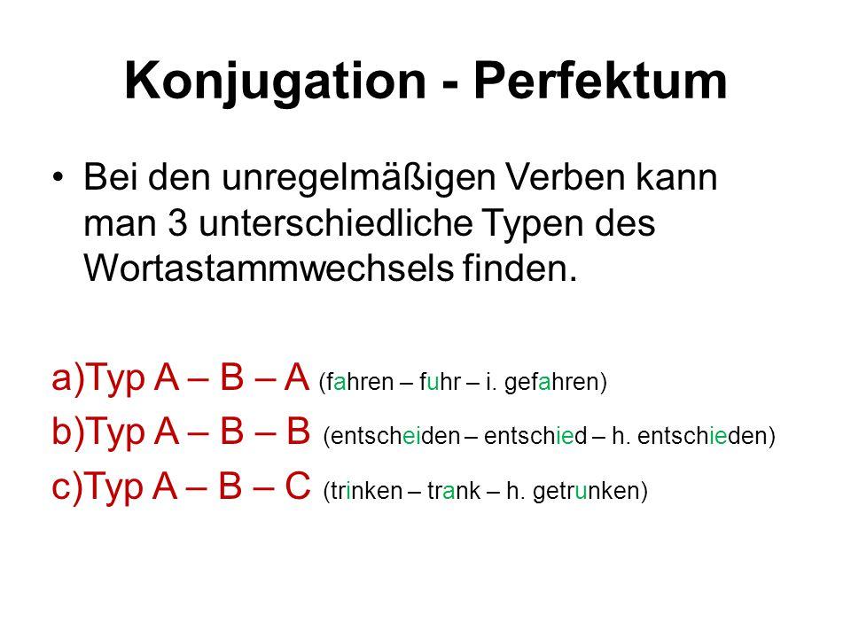 Konjugation - Perfektum kennen (gemischt – Wortstamm: kann-) ichhabe gekannt duhast er, sie, eshat wirhaben ihrhabt siehaben