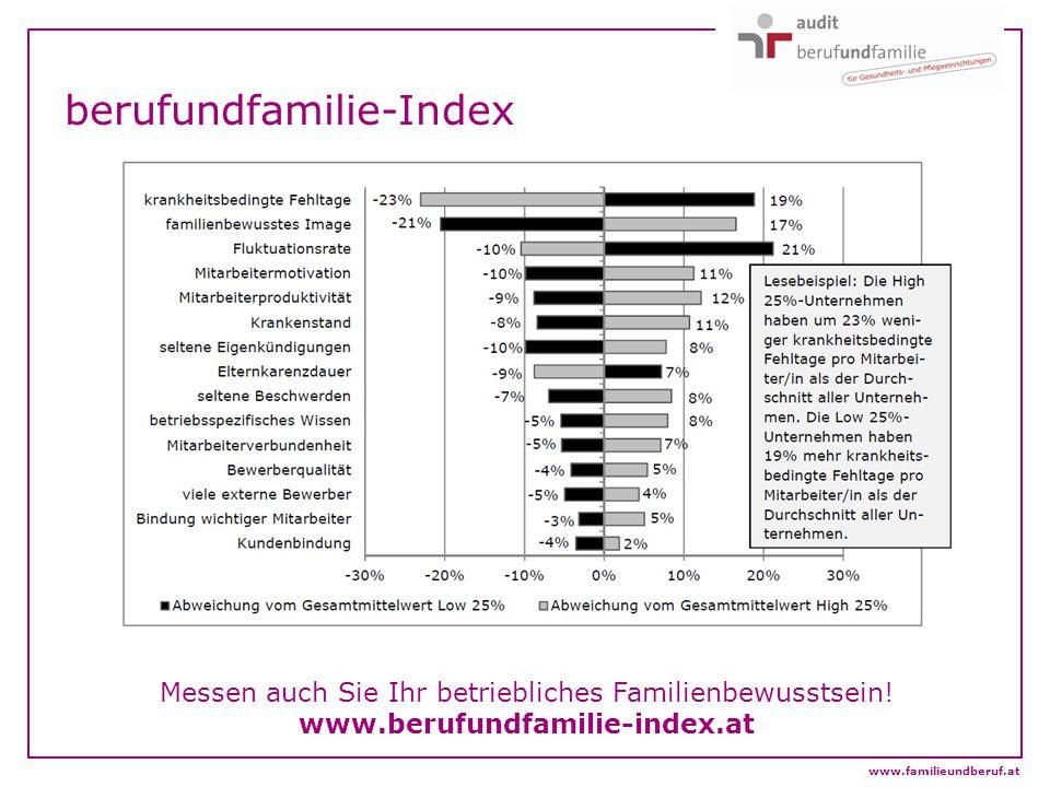 berufundfamilie-Index Messen auch Sie Ihr betriebliches Familienbewusstsein! www.berufundfamilie-index.at www.familieundberuf.at