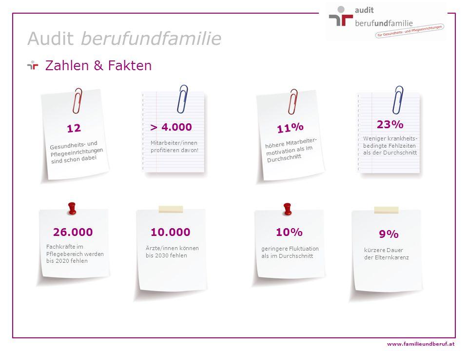 www.familieundberuf.at Audit berufundfamilie Zahlen & Fakten 12 > 4.000 10.00026.000 11% 10% 23% 9% Gesundheits- und Pflegeeinrichtungen sind schon da
