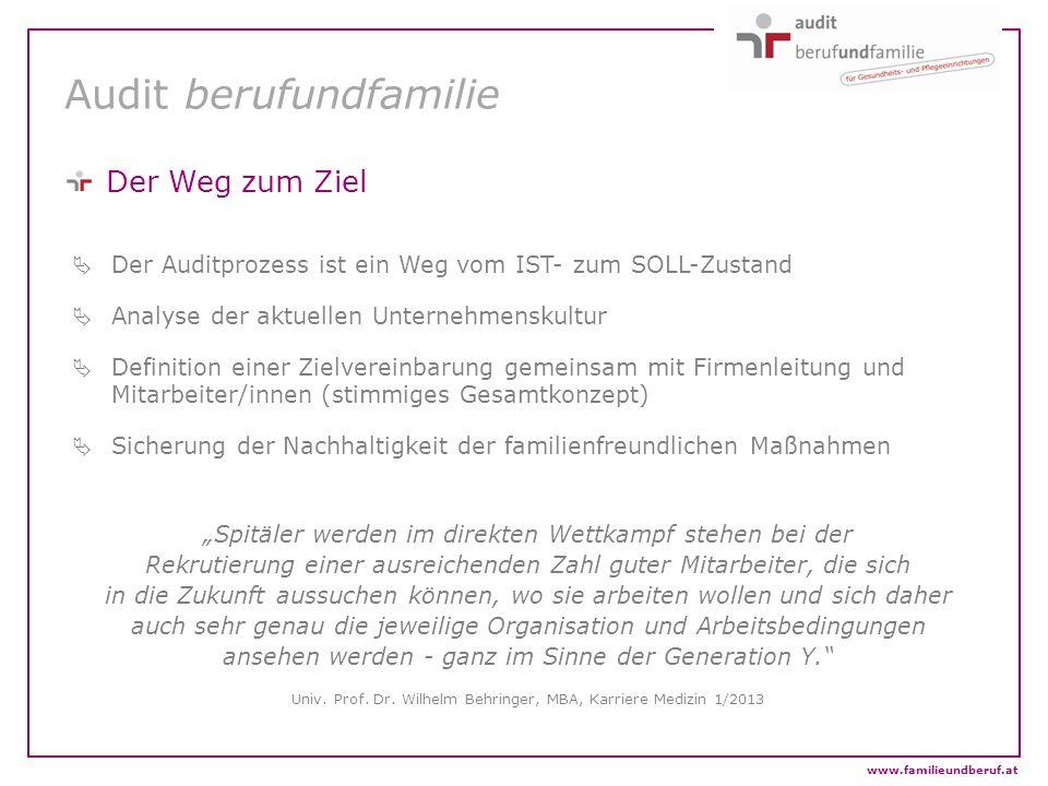 www.familieundberuf.at Audit berufundfamilie Der Weg zum Ziel  Der Auditprozess ist ein Weg vom IST- zum SOLL-Zustand  Analyse der aktuellen Unterne