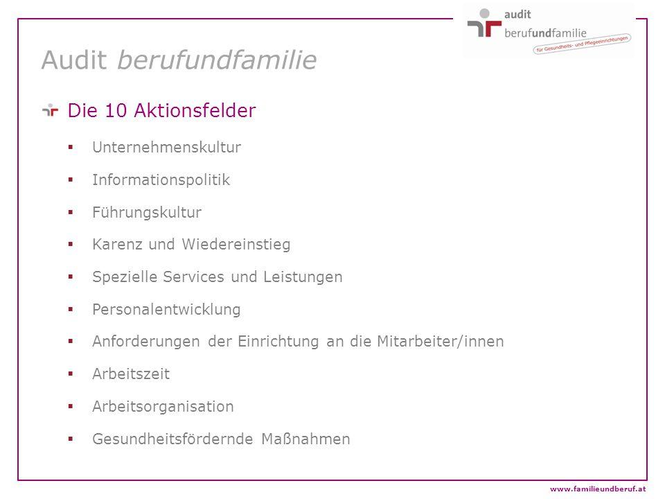 www.familieundberuf.at Audit berufundfamilie Die 10 Aktionsfelder  Unternehmenskultur  Informationspolitik  Führungskultur  Karenz und Wiedereinst