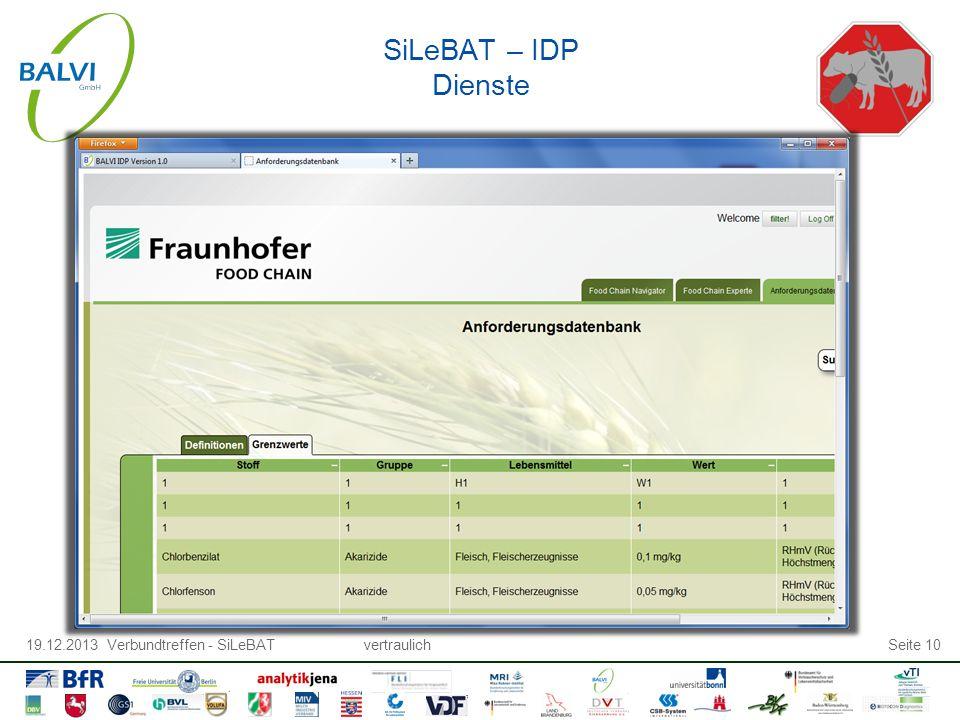 19.12.2013 Verbundtreffen - SiLeBATvertraulichSeite 10 SiLeBAT – IDP Dienste