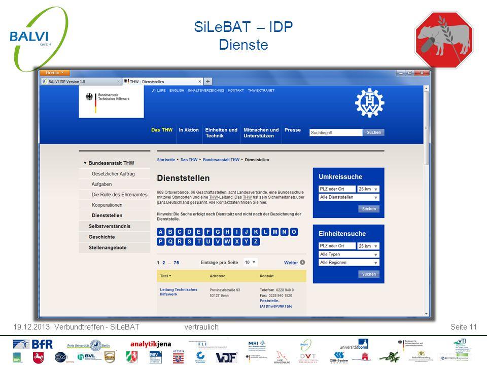 19.12.2013 Verbundtreffen - SiLeBATvertraulichSeite 11 SiLeBAT – IDP Dienste