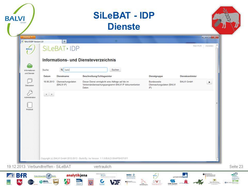 19.12.2013 Verbundtreffen - SiLeBATvertraulichSeite 23 SiLeBAT - IDP Dienste