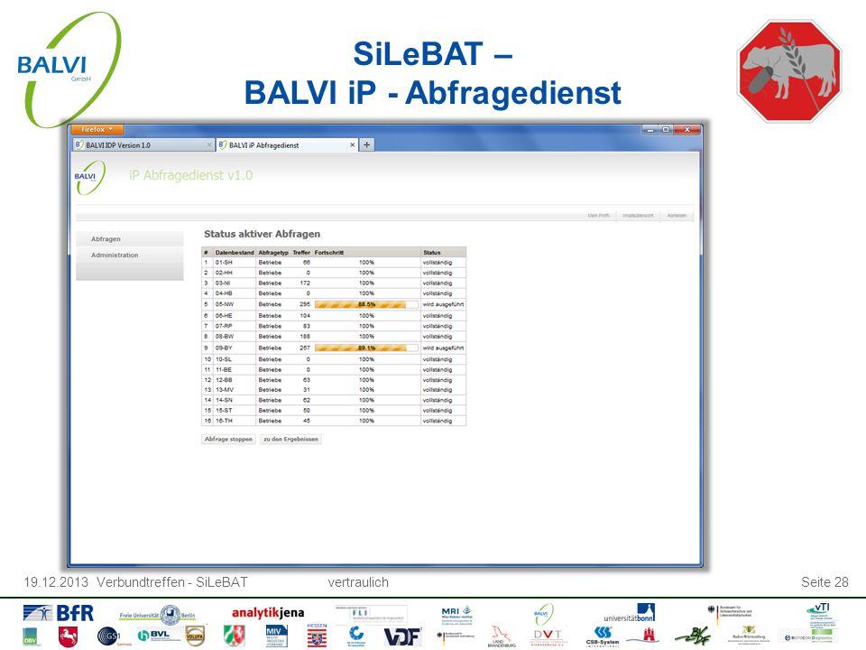 19.12.2013 Verbundtreffen - SiLeBATvertraulichSeite 28 SiLeBAT – BALVI iP - Abfragedienst