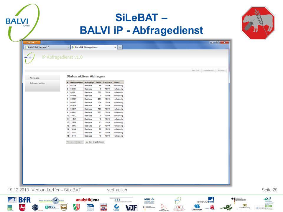 19.12.2013 Verbundtreffen - SiLeBATvertraulichSeite 29 SiLeBAT – BALVI iP - Abfragedienst