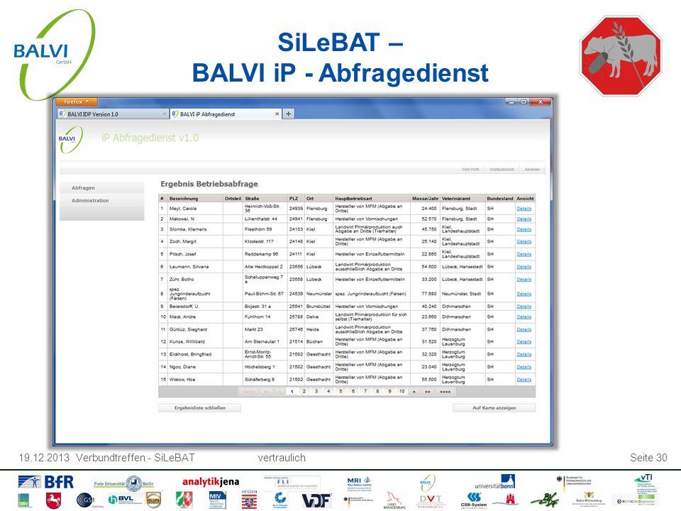 19.12.2013 Verbundtreffen - SiLeBATvertraulichSeite 30 SiLeBAT – BALVI iP - Abfragedienst