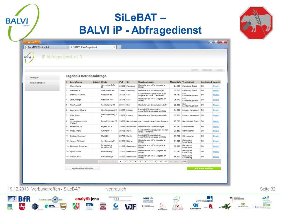 19.12.2013 Verbundtreffen - SiLeBATvertraulichSeite 32 SiLeBAT – BALVI iP - Abfragedienst