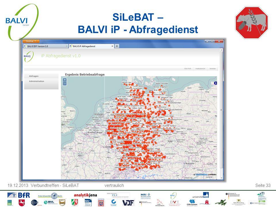 19.12.2013 Verbundtreffen - SiLeBATvertraulichSeite 33 SiLeBAT – BALVI iP - Abfragedienst