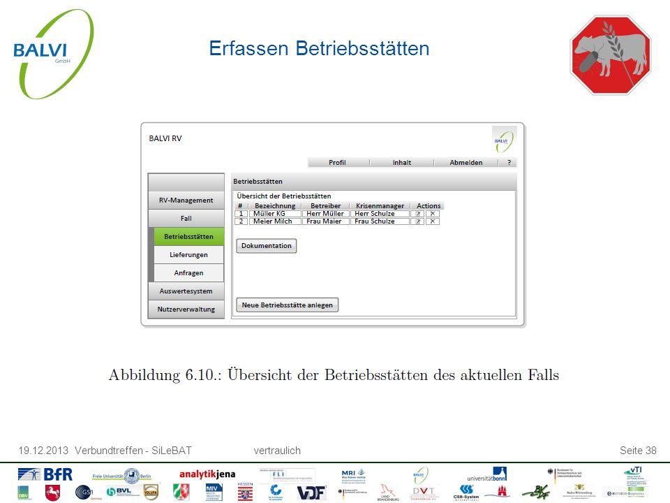 19.12.2013 Verbundtreffen - SiLeBATvertraulichSeite 38 Erfassen Betriebsstätten