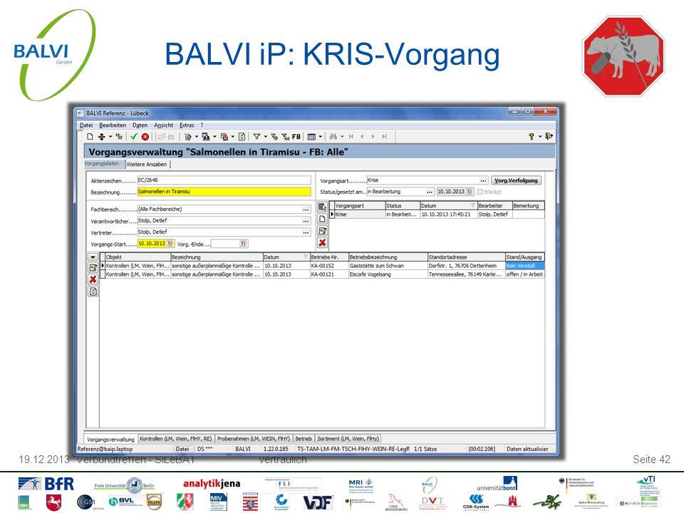 19.12.2013 Verbundtreffen - SiLeBATvertraulichSeite 42 BALVI iP: KRIS-Vorgang