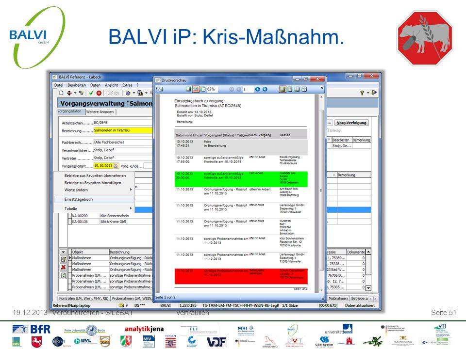 19.12.2013 Verbundtreffen - SiLeBATvertraulichSeite 51 BALVI iP: Kris-Maßnahm.