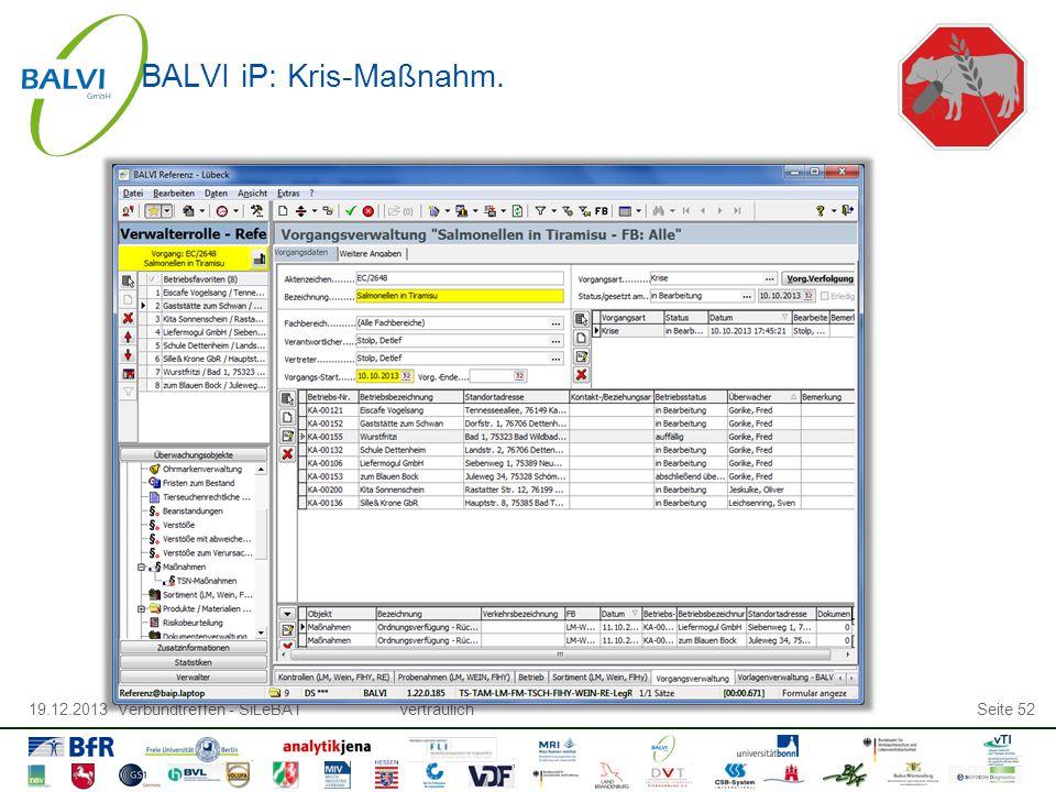 19.12.2013 Verbundtreffen - SiLeBATvertraulichSeite 52 BALVI iP: Kris-Maßnahm.