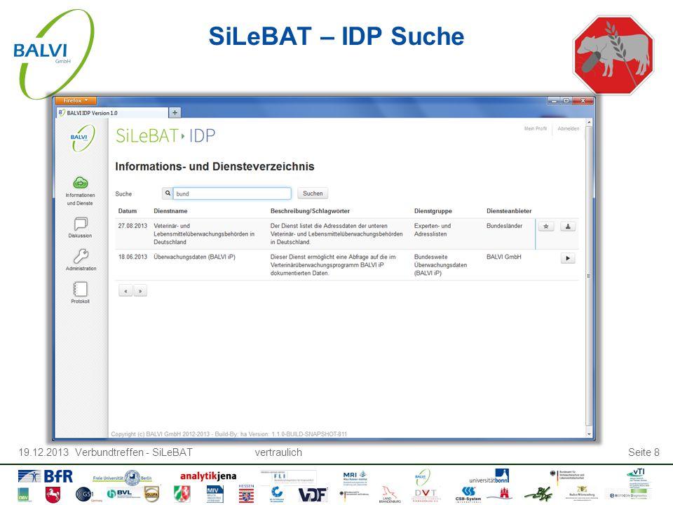 19.12.2013 Verbundtreffen - SiLeBATvertraulichSeite 8 SiLeBAT – IDP Suche