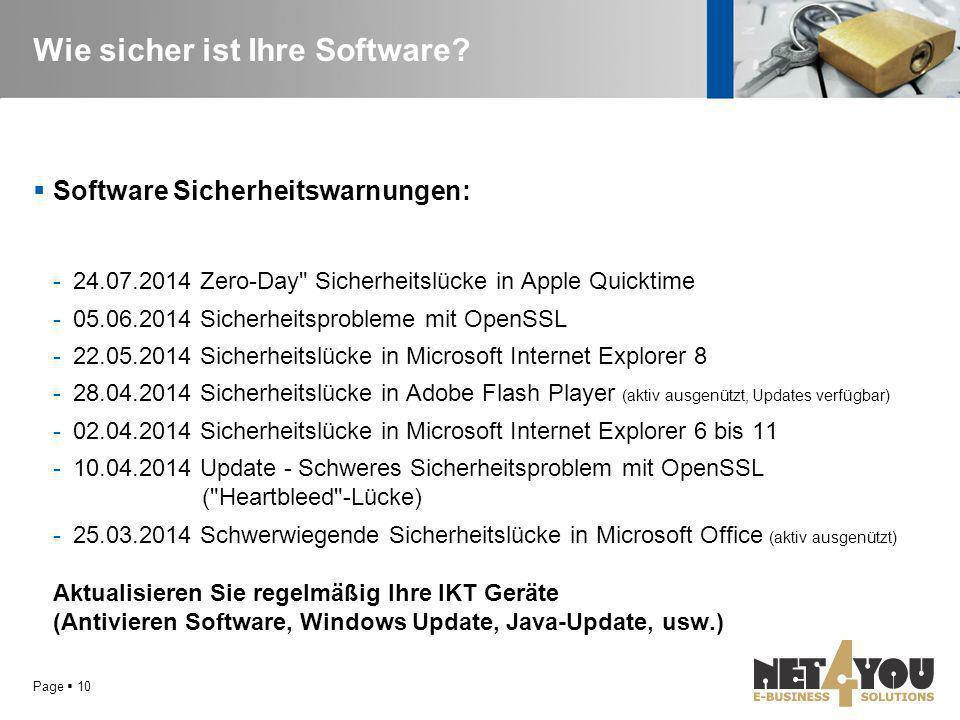 Wie sicher ist Ihre Software?  Software Sicherheitswarnungen: -24.07.2014 Zero-Day