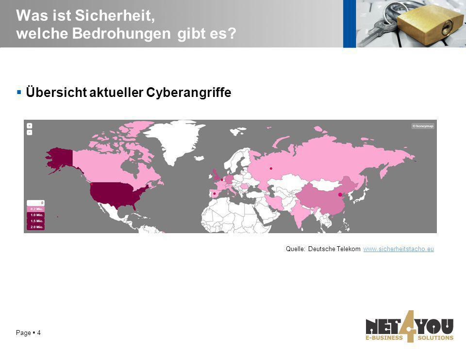Was ist Sicherheit, welche Bedrohungen gibt es?  Übersicht aktueller Cyberangriffe Page  4 Quelle: Deutsche Telekom www.sicherheitstacho.euwww.siche