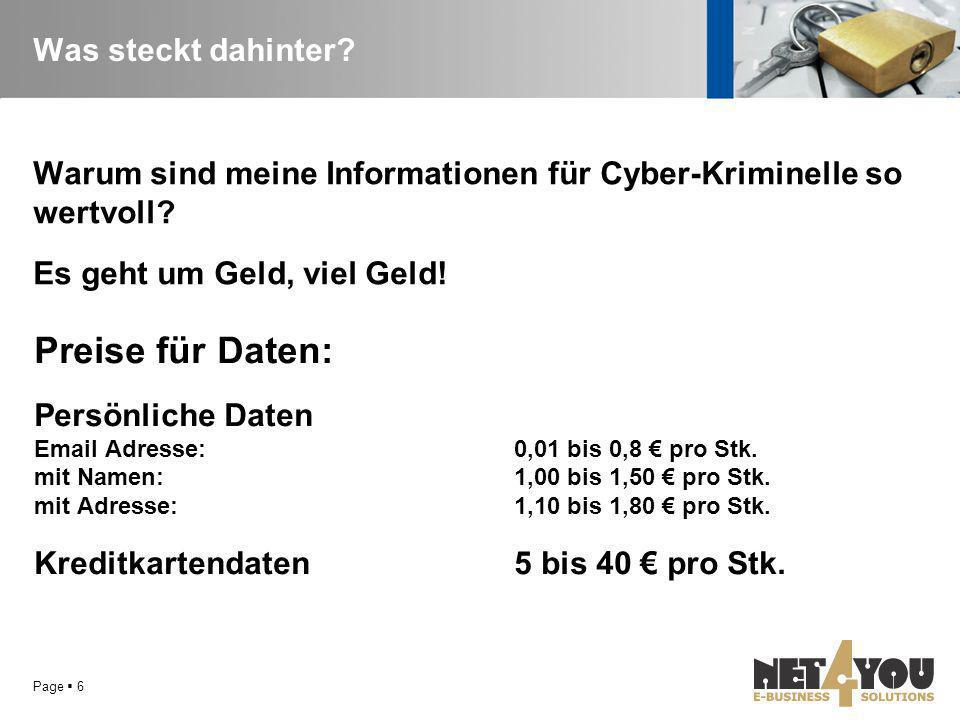Was steckt dahinter? Warum sind meine Informationen für Cyber-Kriminelle so wertvoll? Es geht um Geld, viel Geld! Preise für Daten: Persönliche Daten